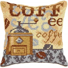 Cross stitch cushion kit Coffee