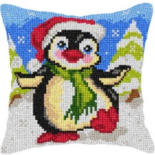 Cross stitch cushion kit Penguin