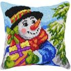 Cross stitch cushion kit Snowman