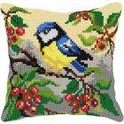 Cross stitch cushion kit Great Tit