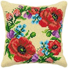 Cross stitch cushion kit Floral Wreath