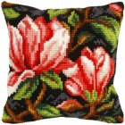 Cross stitch cushion kit Red Flowers
