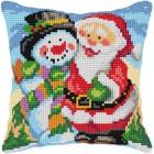 Cross stitch cushion kit Santa and Snowman