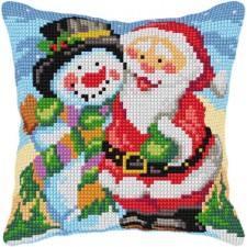 Cross stitch cushion kit Santa and Snowman