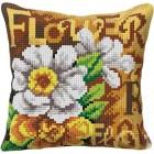 Cross stitch cushion kit White Flowers
