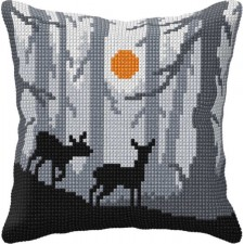 Cross stitch cushion kit Forest at Night