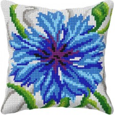Cross stitch cushion kit Cornflower