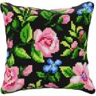 Cross stitch cushion kit Flowers black