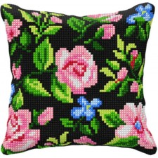 Cross stitch cushion kit Flowers black