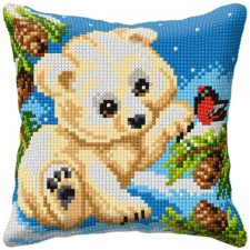 Cross stitch cushion kit White Bear