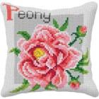 Cross stitch cushion kit Peony