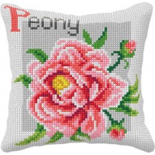 Cross stitch cushion kit Peony