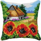 Cross stitch cushion kit Countryside with poppies