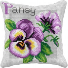 Cross stitch cushion kit Pansy