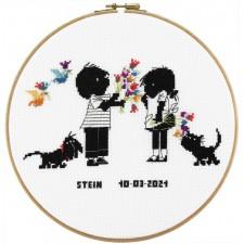 Jip en Janneke geboortetegel Stein: bloemen