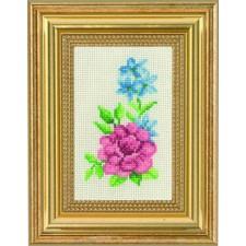 Rose & blue flowers
