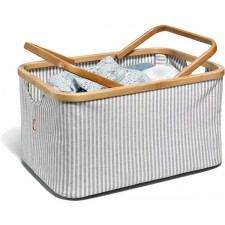 Fold & Store Basket, Canvas & Bamboo, striped