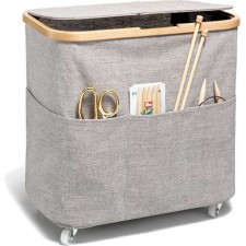 Fold & Store Box Multi, Canvas & Bamboo, foldable with castors