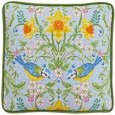Petit Point stitch kit Karen Tye Bentley - Spring Blue Tits Tapestry - Bothy Threads