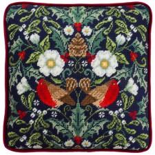 Petit Point stitch kit Karen Tye Bentley - Winter Robins Tapestry - Bothy Threads