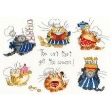 Cross stitch kit Margaret Sherry - The Cat That Got The Cream - Bothy Threads