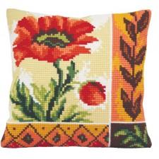Cushion cross stitch kit Coquelicot Nouveau - Collection d'Art