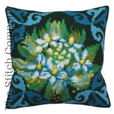 Cushion cross stitch kit Ledum Bleu - Collection d'Art