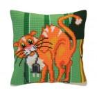 Cushion cross stitch kit Cat Jokes - Collection d'Art
