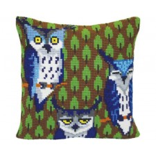 Cushion cross stitch kit Owls in the Forest - Collection d'Art