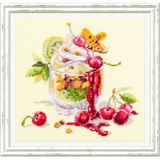 Cross stitch kit Cherry Dessert