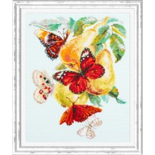Cross stitch kit Butterflies and Pears - Chudo Igla