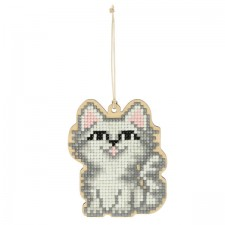Diamond Painting Wooden Pendant - White Cat - Freyja Crystal
