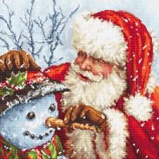 Cross stitch kit Santa Claus and Snowman