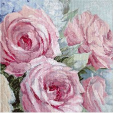 Cross stitch kit Pale Pink Roses