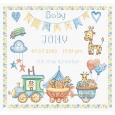 Cross stitch kit Baby Boy Record
