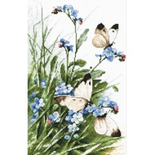 Cross stitch kit Butterflies and Bluebird Flowers