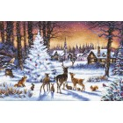 Cross stitch kit Christmas Wood