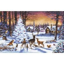 Cross stitch kit Christmas Wood
