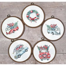 Cross stitch kit Christmas Retro Cars / Kit of 5 - Leti Stitch