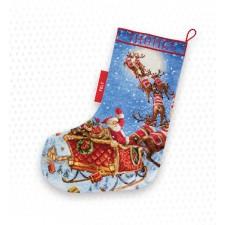 Cross stitch kit The Reindeers on it's Way! Stocking - Leti Stitch