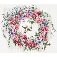 Cross stitch kit Hummingbird Wreath - Leti Stitch