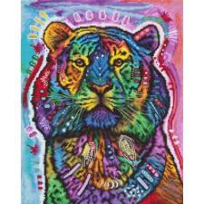Cross stitch kit Curious Tiger - Leti Stitch