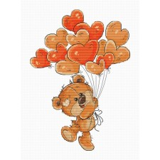 Cross stitch kit Teddy Bear Heart Balloons - Luca-S