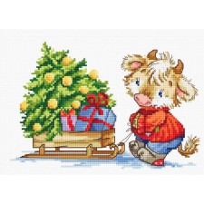 Cross stitch kit Calf with Christmas Tree - Luca-S