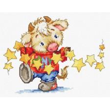 Cross stitch kit Calf with stars - Luca-S