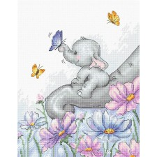 Cross stitch kit Elephant with Butterfly - Luca-S