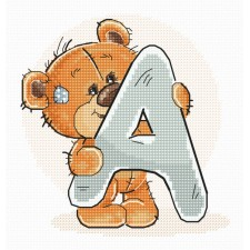 Cross stitch kit Teddy Bear Alphabet Letter A - Luca-S