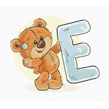 Cross stitch kit Teddy Bear Alphabet Letter E - Luca-S