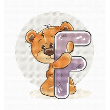 Cross stitch kit Teddy Bear Alphabet Letter F - Luca-S