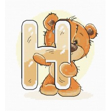 Cross stitch kit Teddy Bear Alphabet Letter H - Luca-S